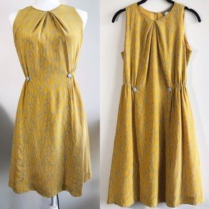 Anthropologie Yellow Take Action Silk Dress